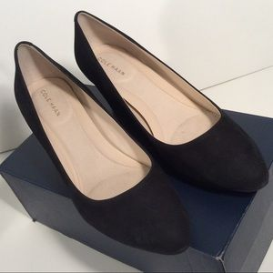 Cole Haan Black Go To Wedge Leather Nuback Shoes
